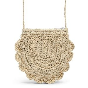 NWT Scalloped Straw Coin Bag